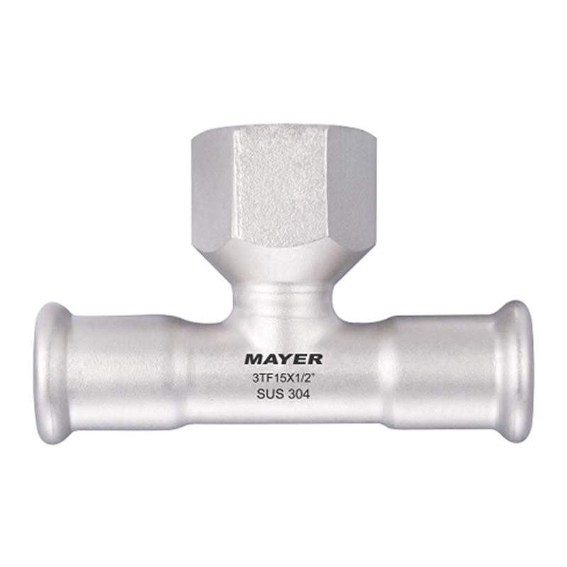Tee with female thread branch M/V Profile Stainless Steel Pipe Press Fitting