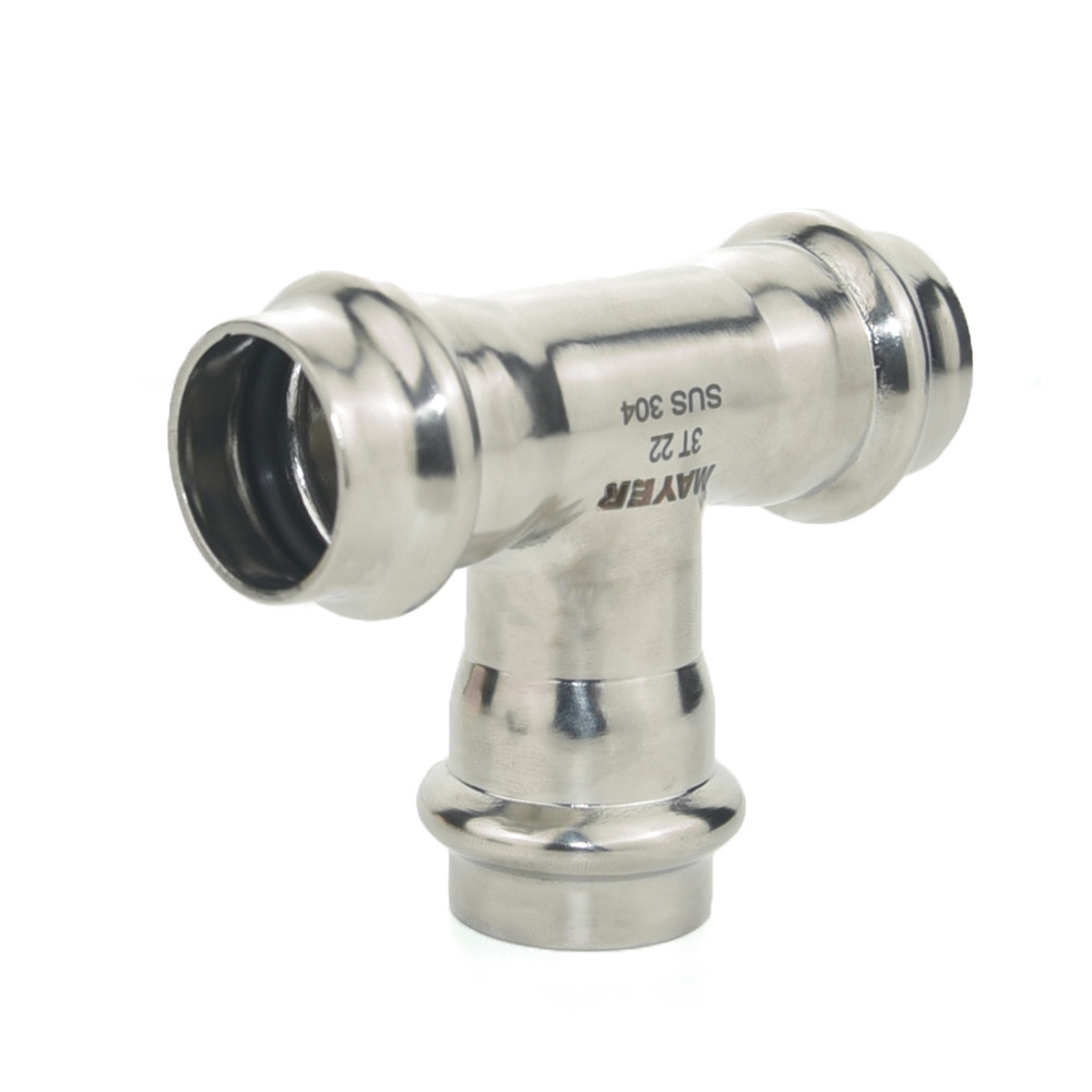 Food grade 304 316L stainless steel joint 3 way elbow pipe fitting tee